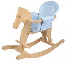 Bayer Chic Drewniany koń biegunach z błękitnym siedziskiem