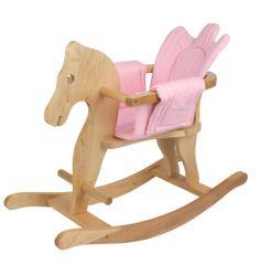 Bayer Chic Drewniany koń biegunach z różowym siedziskiem