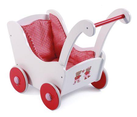 Bayer Chic Drewniany wózek dla lalek retro czerwony