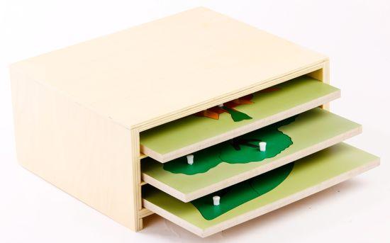 Montessori pomůcky 3 botanické puzzle s komodou