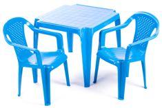 Grand Soleil Dwa krzesła i stolik  dla dzieci, niebieskie