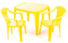 Grand Soleil Dwa krzesła i stolik  dla dzieci, żółte