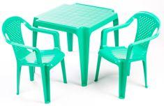 Grand Soleil Dwa krzesła i stolik dla dzieci, zielone