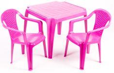 Grand Soleil Dwa krzesła i stolik  dla dzieci, różowe
