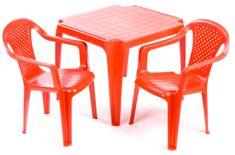 Grand Soleil Dwa krzesła i stolik dla dzieci, czerwone
