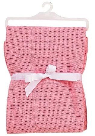 BabyDan Háčkovaná bavlněná deka New, světle růžová