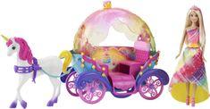 Mattel Mavrična princesa s konjem in kočijo