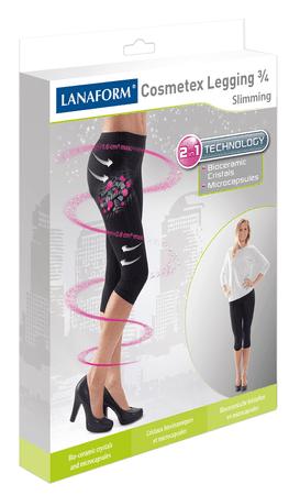 Lanaform hlače za hujšanje in oblikovanje postave z mikrokapsulam COSMETEX LEGGING 3/4, črne, S