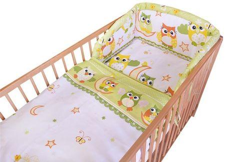 COSING posteljnina Comfort, 3-delni komplet, zelena sovica