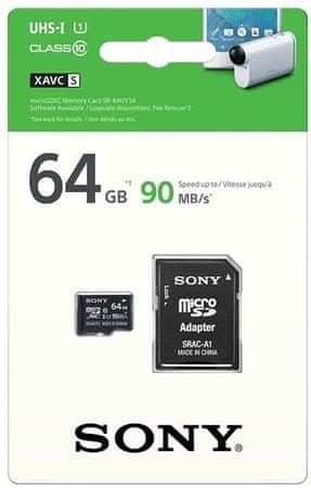 Sony pomnilniška kartica microSDXC 64GB, 90 MB/s, UHS-I + adapter