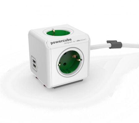 Allocacoc električni razdelilec PowerCube Extended, USB, zelen