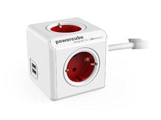 Allocacoc električni razdelilec PowerCube Extended, USB, rdeč