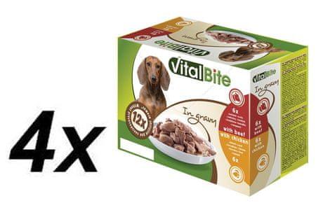 VitalBite hrana za pse 4 x (6 x piščanec 85g, 6 x govedina 85g)