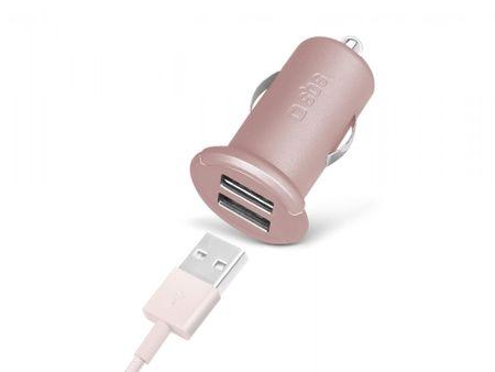 SBS avtopolnilec mini USB x2 izhoda, roza