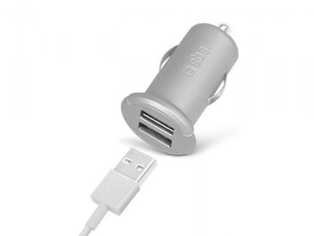 SBS avtopolnilec mini USB x2 izhoda, srebrn