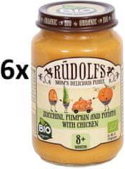 RUDOLFS Detské mäsové pyré cuketa + tekvica + zemiaky + kuracie mäso - 6x190g