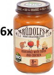 RUDOLFS BIO Dětské masové pyré zelenina + těstoviny + kuřecí maso - 6x190 g