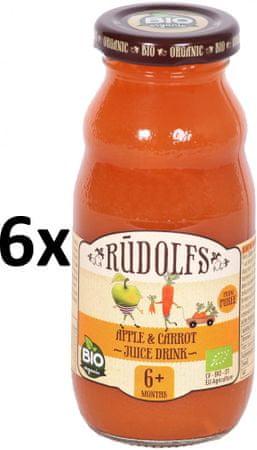 RUDOLFS BIO Dětský juice jablko+mrkev - 6x190 g
