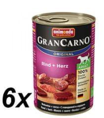 Animonda GranCarno Plus Adult Kutyakonzerv, marhaszív, 6 x 400 g