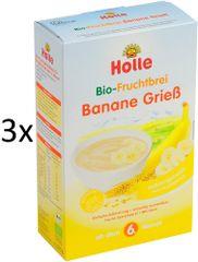 Holle Bio Krupicová kaše s banánem - 3 x 250g