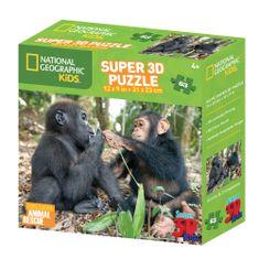 National Geographic sestavljanka 3D - Opica in gorila, 100 kosov, 31 x 23 cm