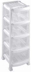 Heidrun Regál so 4 zásuvkami biely