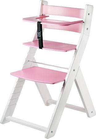 Wood Partner Detská rastúca stolička LUCA biela/ružová