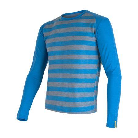 Sensor Merino Wool Active hosszú ujjú férfi póló Kék csíkos M