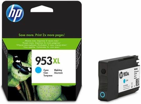 HP 953XL azurová originální inkoustová kazeta s vysokou výtěžností (F6U16AE)