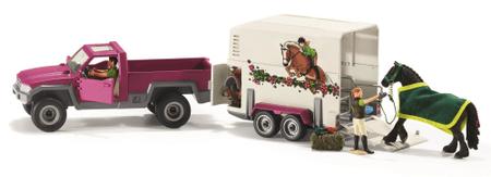 Schleich poltovornjak s prikolico za prevoz konj