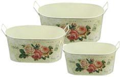 NOHEL GARDEN Set truhlíků s uchy Květy růží 3 ks