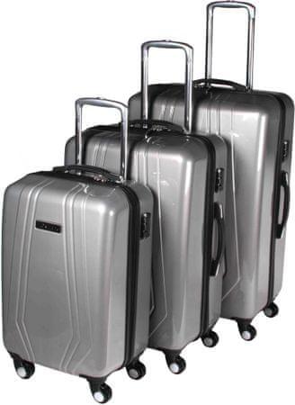 Leonardo Bőrönd készlet Trolley ezüst