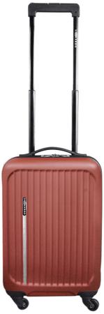 Leonardo Fedélzeti bőrönd Trolley Premium pirosas-barna