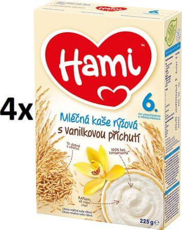 Hami mliečna kaša ryžová s vanilkovou príchuťou 4x 225g, 6+