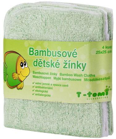 T-tomi Bambusowe myjki do kąpieli, 4 szt. - zielony