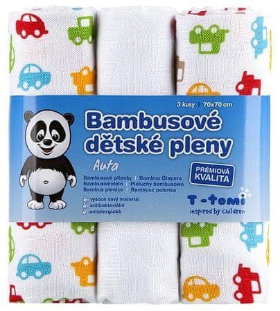 T-tomi Bambusové plienky, sada 3 kusov, Autá