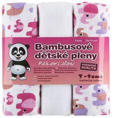 T-Tomi Bambusové pleny, sada 3 kusů, Růžoví sloni