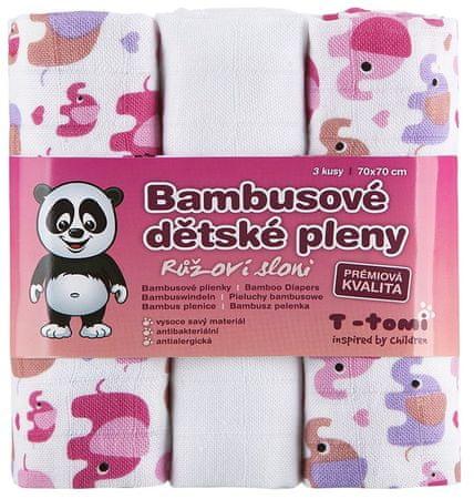 T-tomi Bambusové plienky, sada 3 kusov, Ružoví slony