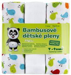 T-tomi Bambusové plienky, sada 3 kusov, Vtáčiky