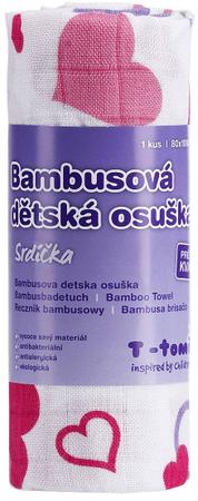 T-tomi Bambusová osuška, 1 kus, Srdiečka