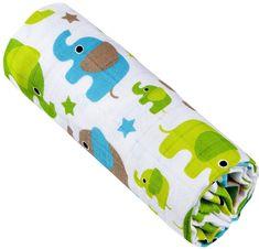 T-tomi Bambusová osuška, 1 kus, Zelené slony