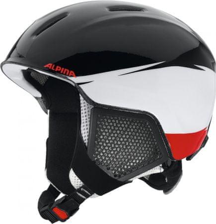 Alpina Sports otroška smučarska čelada Carat LX, črno-bela, 48 - 52