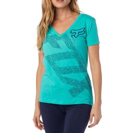 FOX ženska majica Angled V Neck Ss Tee S tirkizna