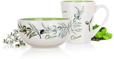 Banquet set za doručak - zdjela + šalica Olives