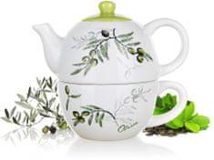 Banquet Ceramiczny czajnik z filiżanką OLIVES