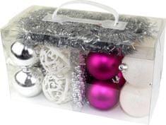 Seizis Set ozdôb fialové, biele, strieborné 18 ks