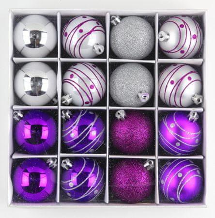 Seizis Sada vianočných gulí, fialovo-strieborné 16ks