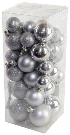 Seizis Gömb karácsonyfadísz, 40 db, Ezüst