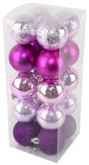 Seizis Sada vianočných gulí ružovo-fialová 20 ks