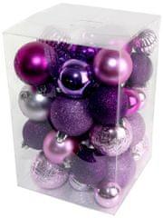 Seizis Sada vianočných gulí ružovo-fialová 47 ks